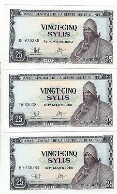 Guinea Guinea 25 Sylis 1971 P-17 3 notes uncirculated sequential serial numbers!