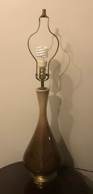 Vintage Mid-Century Modern MCM Brown Ceramic & Brass Table Desk Lamp Leviton 36""
