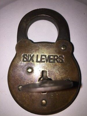 Vintage Antique Six Lever Brass Lock Corbin? With Working Key