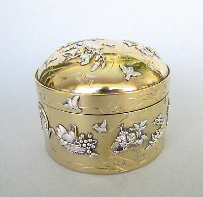 Antique Meiji Period Japanese Mixed Metal Gold & Silver Hinged Box Excellent NR