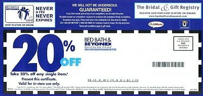 5 Bed Bath & Beyond 20% Off Single Item in store online exp Feb mar 2018