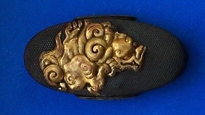Fuchi Kashira : Very Fine Shishi Lion & Peony Japanese Samurai Sword Fittings