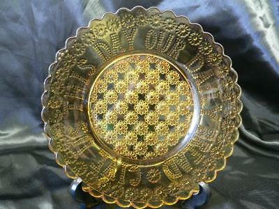 Vintage Pressed Amber Glass Bread Plate 'Give Us This Day Our Daily Bread'