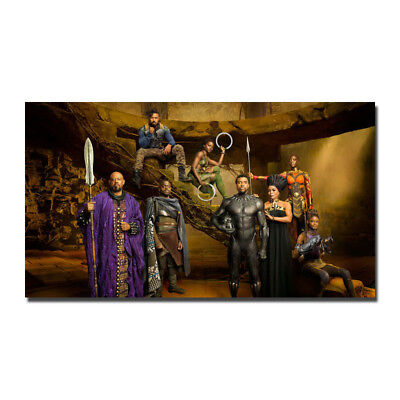 NEW LISTING Black Panther Movie Cast 2018 Marvel Silk Canvas Poster 13x24 24x43