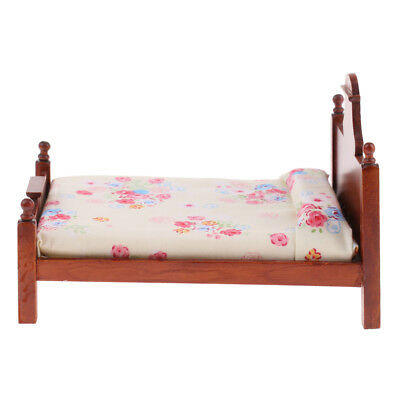 1/12 Scale Dollhouse Miniature Furniture Bedroom Wooden Floral Double Bed