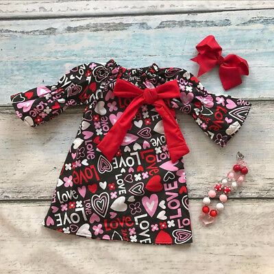 US Toddler Kid Baby Girls Valentine Day Love Printed Party Pageant Dress Clothes
