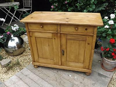 Lovely Old Antique/ Victorian Waxed Pine Dresser Base/sideboard/cupboard/cabinet