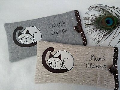 Handmade Personalised Cat Siamese Glasses Sunglasses Case Gift Grey or Linen Dot