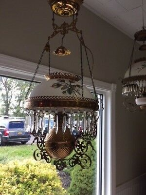 Antique Victorian Oil Chandelier Brass, Glass and Crystal Electrified