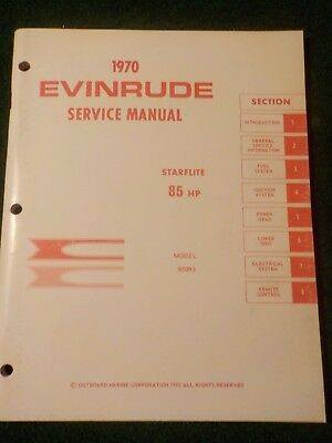 1970 OMC Evinrude Outboard Service Repair Shop  Manual 85 HP Starflite 85093