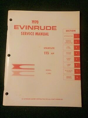 1970 OMC Evinrude Outboard Service Repair Shop  Manual 115 HP Starflite 115083