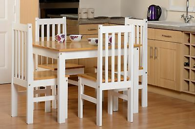 Seconique Ludlow Dining Set In Oak And White 5 Piece Country Farmhouse Style