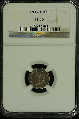 Capped Bust Silver Half Dime,1835 Small Date. NGC VF 35 Lot # 2672217-001