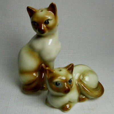 Pair of Vintage Porcelain SIAMESE Kitty Cat Salt and Pepper Shakers with Cork
