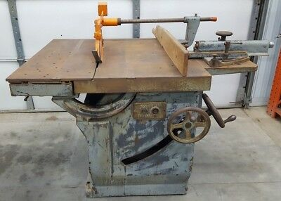 """OLIVER 260 16"""" Table Saw Double Arbor Tilting w Rip Fence, Heavy Vintage Machine"""