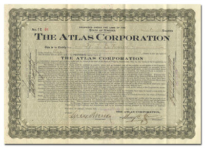 Atlas Corporation Stock Certificate (Chicago Taxi Company)