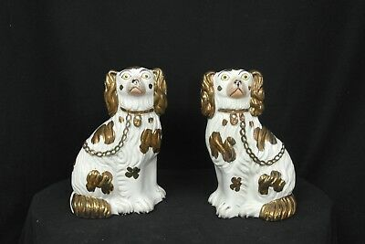 Antique Pair of Staffordshire King Charles Spaniels with CopperLuster Decoration