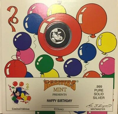 Disney Rarities Mint MICKEY MOUSE HAPPY BIRTHDAY .999 Pure Solid Silver Coin LE!