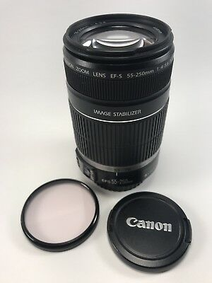 Canon EF-S 55-250mm f/4.0-5.6 IS Telephoto Zoom Lens W/ sky filter