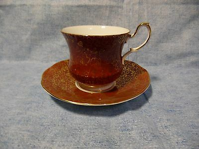 Beautiful Queen's Staffordshire Red Gold English Bone China Tea Cup & Saucer