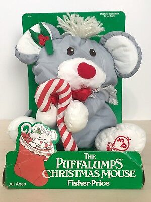 1987 Fisher-Price Puffalumps Christmas Mouse Grey Candy Cane Plush New 8016
