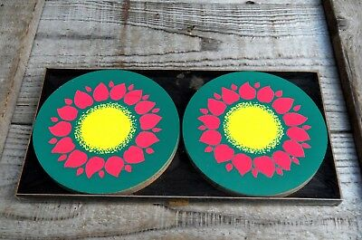 6x Vintage Mid Century Cork Coasters 50s 60s Groovy Psychedelic Flower Power