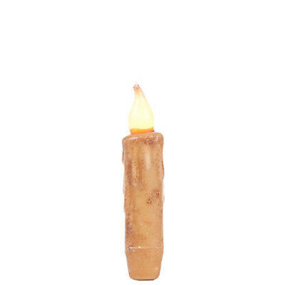 """4"""" Cream Battery Operated Taper Candle w/Timer - Primitive Candles"""