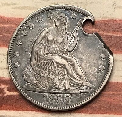 1858 50C Seated Liberty Half Dollar 90% Silver Vintage US Coin #ET1 Sharp Appeal