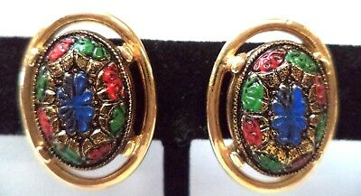 """Stunning Vintage Estate Signed Sarah Cov Glass 7/8"""" Clip Earrings!!!! 9377W"""