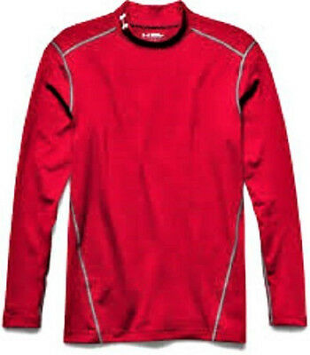 Under Armour Men's Cold Gear Mock Neck Compression Fit Shirt Red - Size: Large