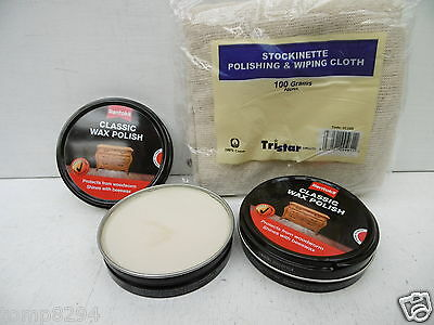 2 X 80Gram Tins Rentokil Classic Wax Polish For Woodworm Protection + Cloth
