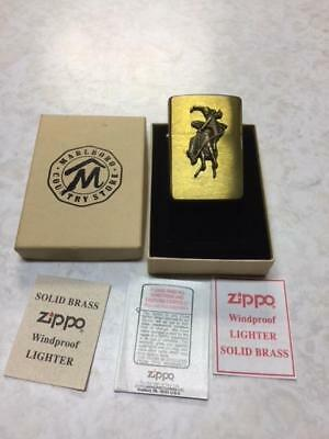 vintage 1995 ZIPPO Marlboro Country Store Solid Brass Lighter in Box/ CIB / NOS