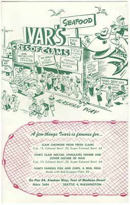 1950 IVARs Acres of Clams MENU Seattle WA; Chowder 15c, Razor Clam Fry dinner $2