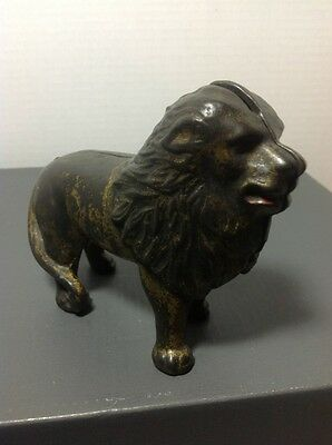 "Antique Cast Iron Bank; ""Lion"" Tail Right; A. C. Williams 1905-1931; 4 x 5"""