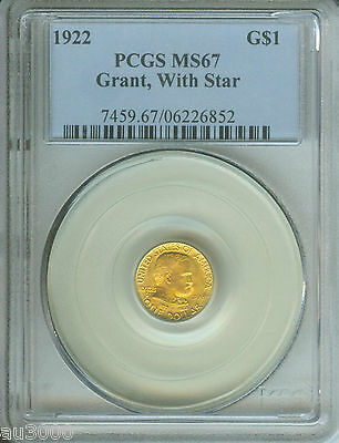 1922 G$1 GRANT with STAR * Commemorative Gold Dollar PCGS MS67 MS-67 SCARCE