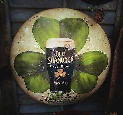 Primitive Antique Vtg Style Old Shamrock Beer Bar Pub Clover Dome Metal Sign Tin
