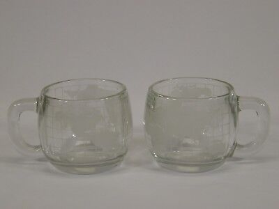 Lot of 2 Old Vtg. Nescafe Globe World Clear Glass Coffee Cups Mugs Advertising
