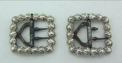 A PAIR OF SMALL ANTIQUE GEORGIAN SOLID  SILVER BUCKLES George Bower 1816