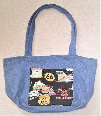 Tote, Bag, Denim, Themed, Route 66, Handmade, Upcycled, Travel