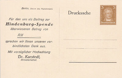 Postal Stationery/Privatganzsache PP97/C3: HINDENBURG-SPENDE