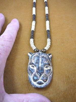 (j-panther-4) Panther lion Cat aceh bovine bone carving PENDANT wht brn NECKLACE