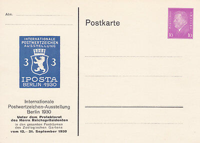 Postal Stationery/Privatganzsache PP115/C1/01: IPOSTA BERLIN 1930