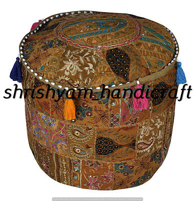 """Indian Ethnic Foot Stool Hippie Embroidered Vintage 18"""" Round Ottoman Pouf Cover"""