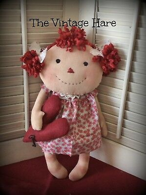 Raggedy Anne Primitive Folk Art Valentine Doll with Key to My Heart Vintage Hare