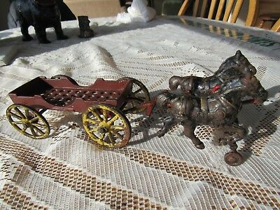 VINTAGE ANTIQUE ORIGINAL 1920s CAST IRON TEAM OF HORSES AND SMALL WAGON