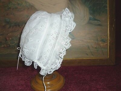 Dainty Antique Embroidered Baby/Doll Bonnet Lace Frills GC.