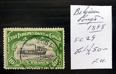 BELGIAN CONGO 1898 - 10F Paddle Steamer Boat SG29 NC795