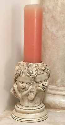 """Pair of matching large 9"""" tall Cherub Angle Pedestal holders Vintage Antique?"""