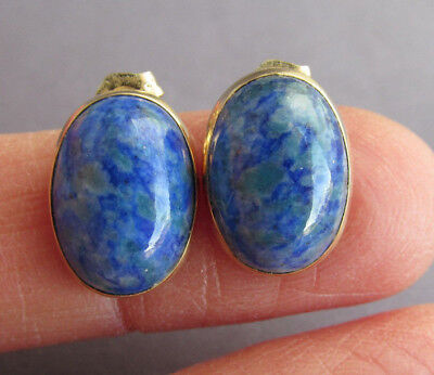 VINTAGE WEH 14K YELLOW GOLD OVAL CABOCHON LAPIS STUD PIERCED EARRINGS 3.1g