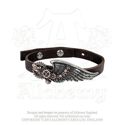 Alchemy Gothic Black Baron Technician's Steampunk Wing Pewter & Leather Bracelet
